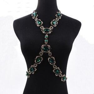Image 2 - Bohomian verde cristal corpo colar feminino corpo jóias cintura corrente colar femme grande gargantilha maxi colar de indicação para mulher