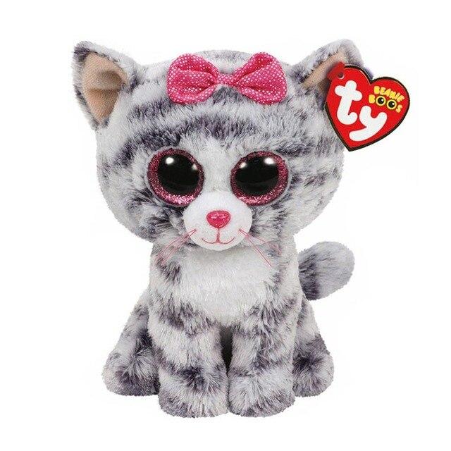 """Ty Vaias Gorro Stuffed & Plush Animais Gato Cinzento Com Arco Brinquedo Boneca Com Tag 6 """"15 cm"""