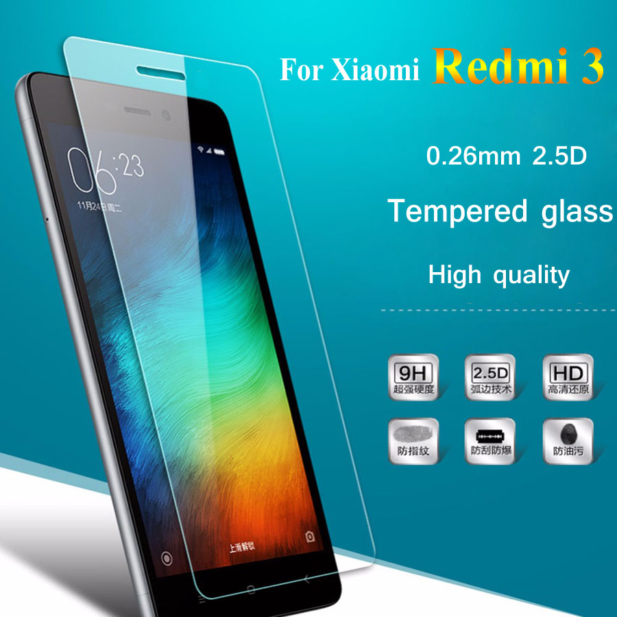 Screen Protector For Xiaomi Redmi 3 3S Pro Prime 0.26mm 2.5D Premium Tempered For Redmi3 S Glass Screen Protective Cover Film