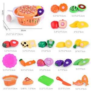 Image 2 - 1 conjunto crianças fingir papel jogar casa brinquedo, corte, frutas, plástico, legumes, cozinha, brinquedos, presente, jogo divertido