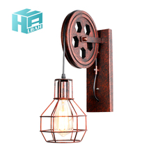 Hot Loft retro lamp creative lifting e27 wall light dining room restaurant aisle corridor pub cafe wall lamp bra wall sconce retro lamp wall sconce modern wall light glass ball dining bedroom e27 wall lamp restaurant aisle corridor pub cafe wall lights
