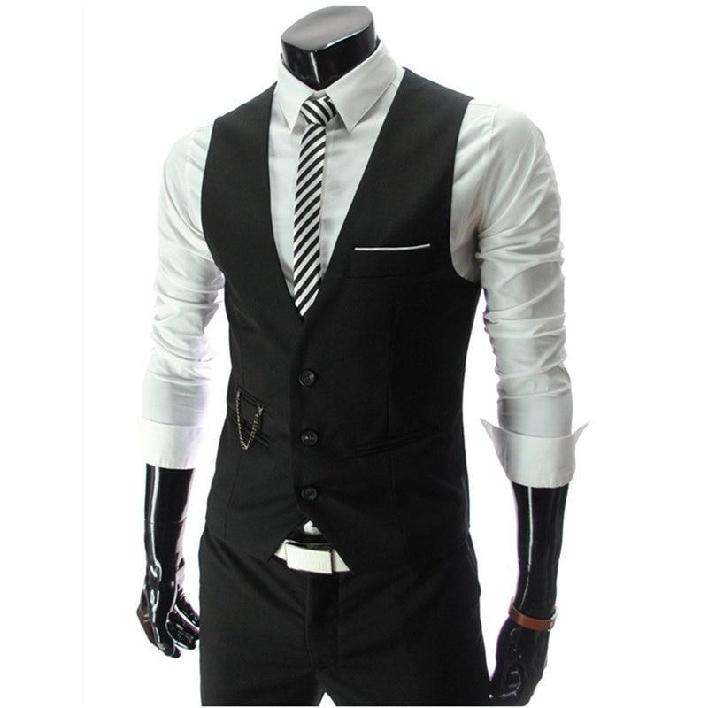 Жилет костюм мужской Костюм хлопковый жилет для мужчин короткое пальто в формальном стиле свадебное серое Повседневное платье белый блейзер черный красный бизнес - Цвет: Черный