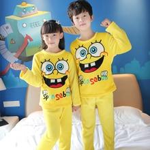 Special Offer Cheap Pajamas Kids winter Children long Sleeve Sleepwear Sets flannel Cartoon Lovely Unisex Girls Pajamas Sets