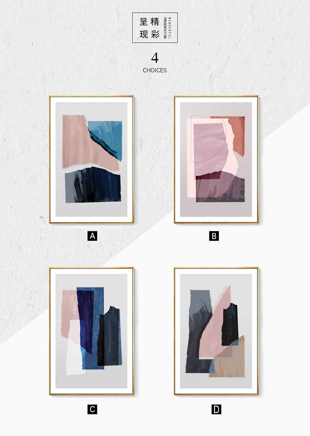 Modern Abstrak Marmer Biru Pink Cetakan Kanvas Cetakan Lukisan Dinding Seni Poster Gambar untuk Ruang Kantor Rumah Dekorasi
