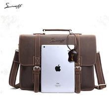 SMIRNOFF Men Handbag Vintage Brown Crazy Horse Leather Men Messenger Bag Computer Laptop Man Notebook Bag Male