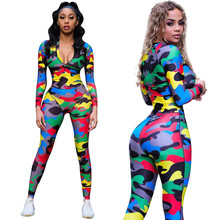 Sexy Colorful Camouflage Jumpsuit Women Rompers Long Sleeve Bodycon Playsuits Ov