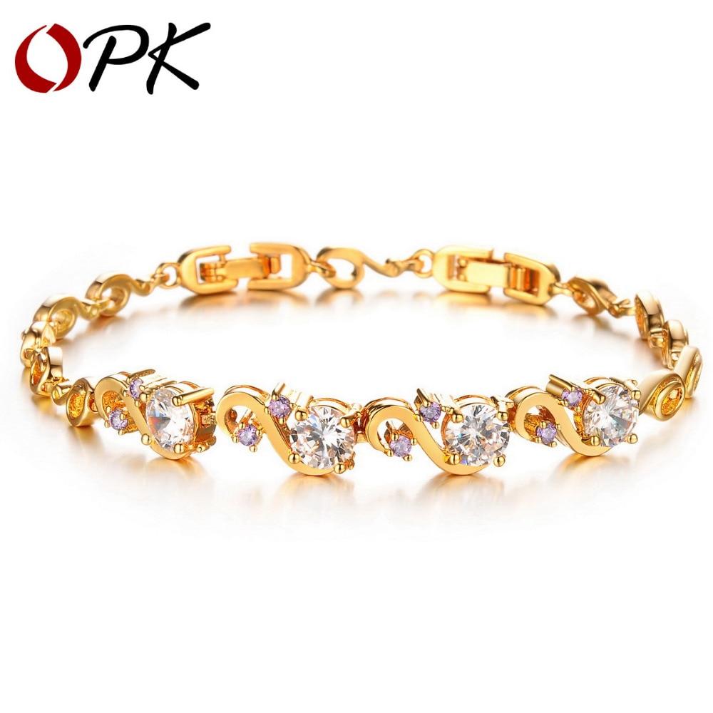 Opk Classic Women's Bracelet Inlaid Cubic Zirconia Gold Color Luxury  Wedding Jewelry Gift, Dm409(