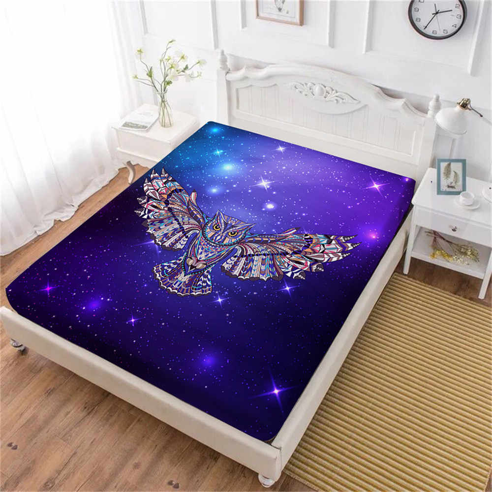 3D Owl Print Bed Sheets Colorful Animal Fitted Sheet Purple Galaxy Printed Sheet King Queen Mattress Cover Elastic Band D20
