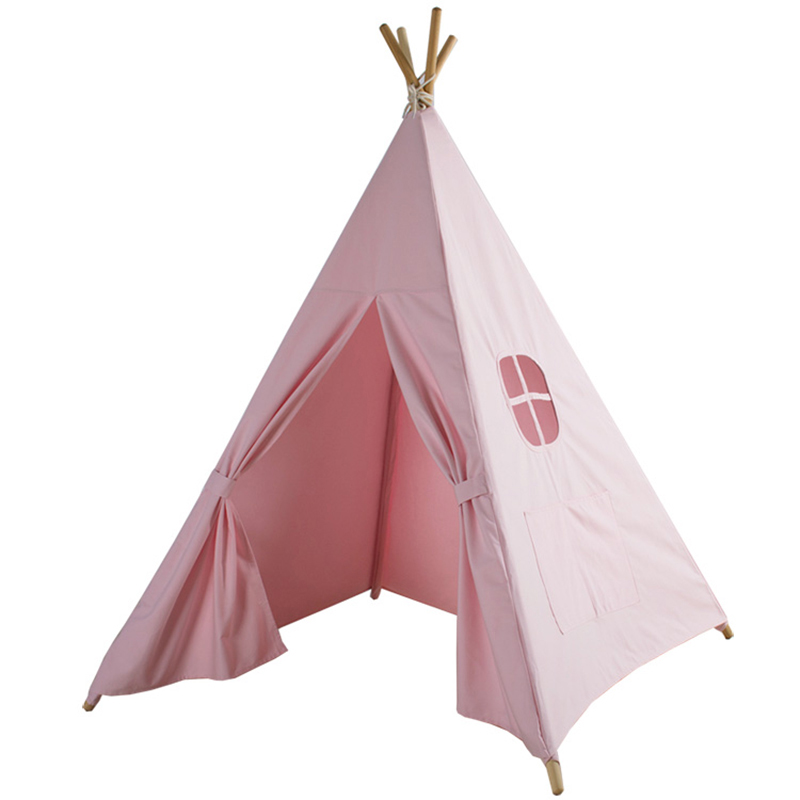 LM1317 Four Poles Children Teepees Kids Play Tent Cotton Canvas Teepee White Playhouse for Baby Room Tipi children tent five wooden poles indian play teepees kids tipi cotton canvas teepee white play house for baby room