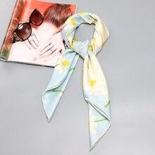Daisy Bloem Print 100% Zijde Twill Sjaal Hijab Foulard Grote Vierkante Zijden Sjaal Mode Accessoires Hand Rolled 90x90cm