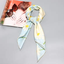 Hoa cúc In 100% Lụa Hai Dây Khăn Hijab Foulard Vuông Lớn Lụa Khăn Choàng Thời Trang Phụ Kiện Tay Cán 90x90cm
