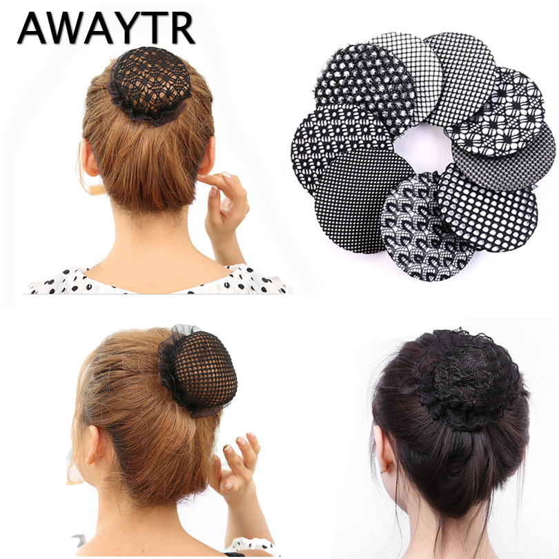 AWAYTR 2pc Cover Net Tulle Bun Snood Stylish Floral Lace Lady Hair Band Women Hairgrips Hair Accessories Elastic   Headwear
