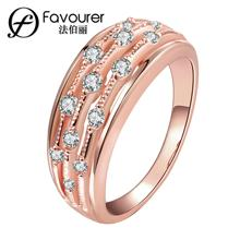 2015 nueva moda anillo de moda Blanco/oro rosa color anillos para mujeres boda fiesta joyería Vintage tamaño completo al por mayor