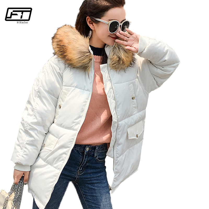 Fitaylor 2017 Winter Big Size Jacket Parka For Women Fur Collar Hooded Parkas Mujer Thick Warm Down Cotton Long Padded Coat plus size 5xl winter jacket women hooded long parka down cotton jacket women fur collar wadded coat parkas abrigos mujer c3762