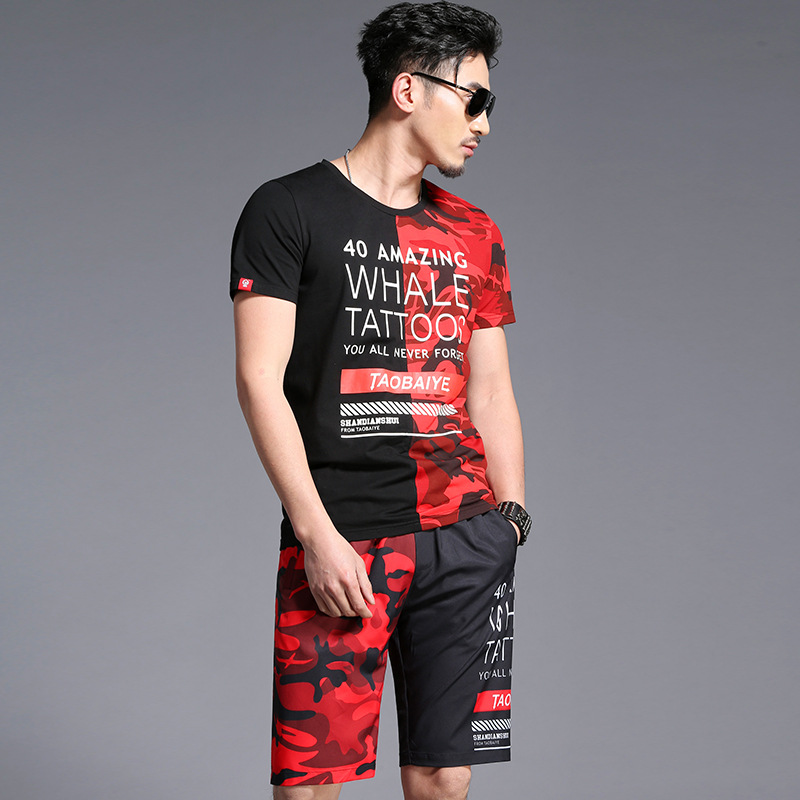 Letters patchwork camouflage printing hip hop t shirt and shorts set Summer 2018 New quality soft comfortable tracksuit menM-4XL