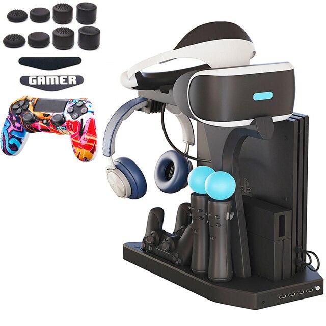 PSVR PS4 Pro Slim Sạc Đỡ Tủ Trưng Bày Cho PS4 VR PlayStation 4 Chân Đứng, Quạt Làm Mát, bộ Điều Khiển Sạc Hub