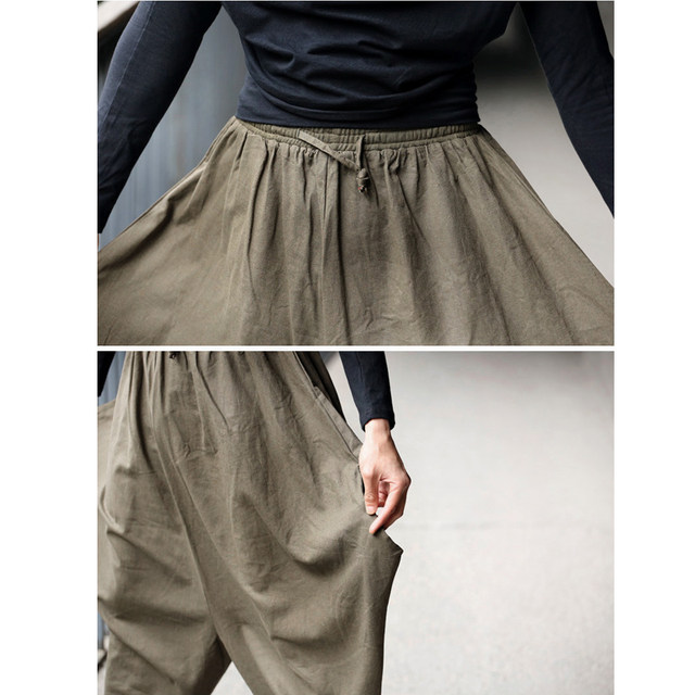Men Trousers Japanese Samurai Style Boho Casual Low Drop Crotch Loose Fit Harem Baggy Hakama Capri Cropped Linen Pants