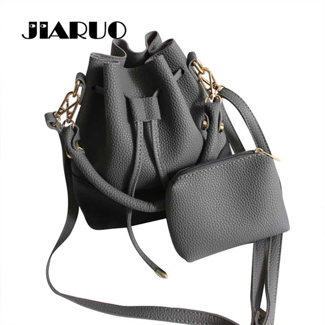 Jiaruo 2017 Small Drawstring Bucket Bag For Women Leather Handbag And Purse Las Shoulder Bags Per