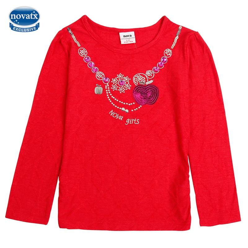 new nova kids red long sleeve causal cotton girl t-shirt high baby gitrl clothes lovely kids children clothinfg