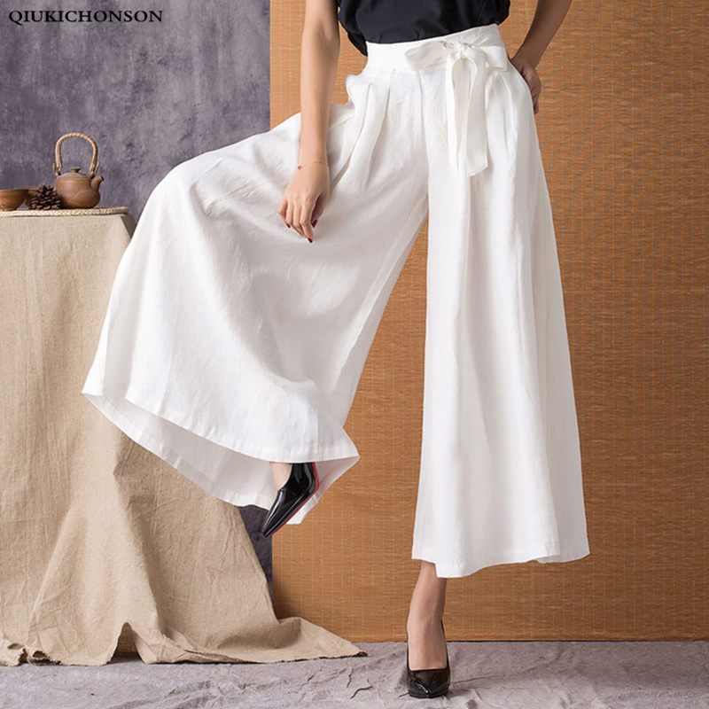 Linen Women Wide Leg   Pants   2019 Spring Summer Fashion   Capri     Pants   Lace Up Vintage High Waist Casual Plus Size White   Pants