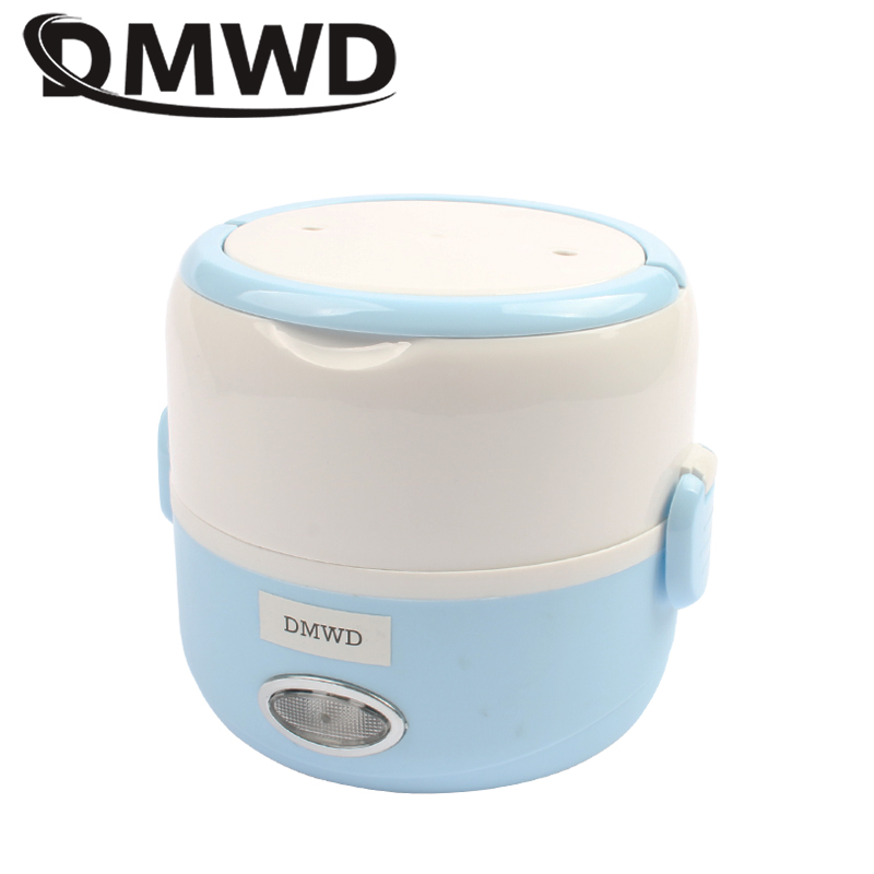 DMWD 110V 220V 1.3L Portable Electric Insulation Multifunction Heating Lunch Box Automatic Rice Cooker Food Warmer Container