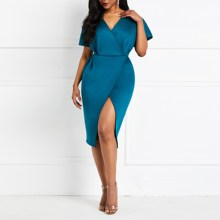 Women V Neck Wrap Casual Dress Party Midi Solid Elegant