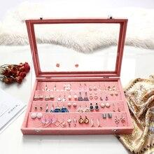 2019 nuevo anillo de joyería portátil caja de organizador de exhibición de pendientes soporte de joyería caja de almacenamiento de maquillaje decoración de regalo para mujer