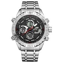цены на WEIDE  Sports Leisure Business Quartz Watch men Fashion LCD Digital Movement Waterproof Army Watches Clock relogio masculino  в интернет-магазинах