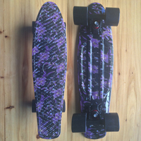 Purple Floral Graphic Printed Mini Cruiser Plastic Skateboard 22 X 6 Retro Longboard Skate Long Board