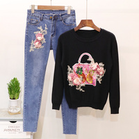 2019 Spring Autumn Woman Denim set Fashion Beading Flowers Long Sleeve knitted Sweater Tops + Slim Jeans Womens two piece sets