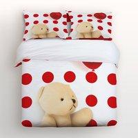 4 шт. кровать Простыни Детские комплект, милый медведь Холдинг красный шар с красный, белый в горошек