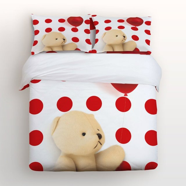 4 Piece Bed Sheets Set, Cute Bear Holding Red Balloon With Red White Polka  Dot
