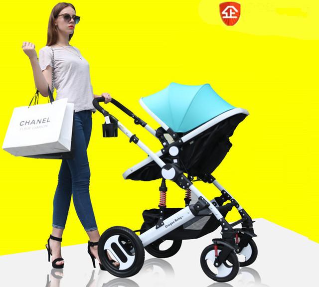 Cochecito de bebé puede sentarse en los cuatro ronda de la BB choque evitar empujar la mano de bebé plegable niño del Verano del bebé carruajes