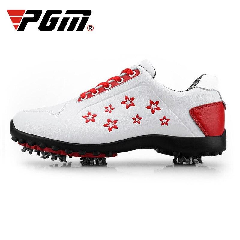 Mulher à Prova Sapatos de Golfe Sapatos de Treinamento Tênis de Golfe Dladies Água Senhoras Antiderrapante Picos Móveis Macio Couro Impresso Doce D0755 Pgm