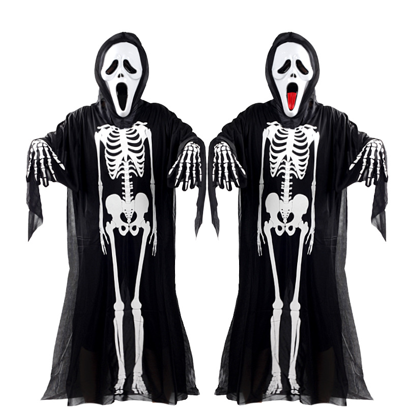 Halloween Cosplay Costume Skeleton Ghost Clothes + Skull Devil Mask Demon Ghost Scary Party Clothes Robe for Adult Children Kids halloween party cosplay devil rubber mask red black