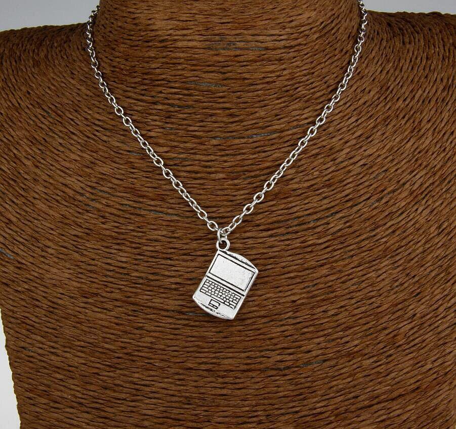 Hot 6pcs New Ancient Silver Laptop Charm Pendant Statement Necklace Short Neck Chain Best Friends Festival Gift H297