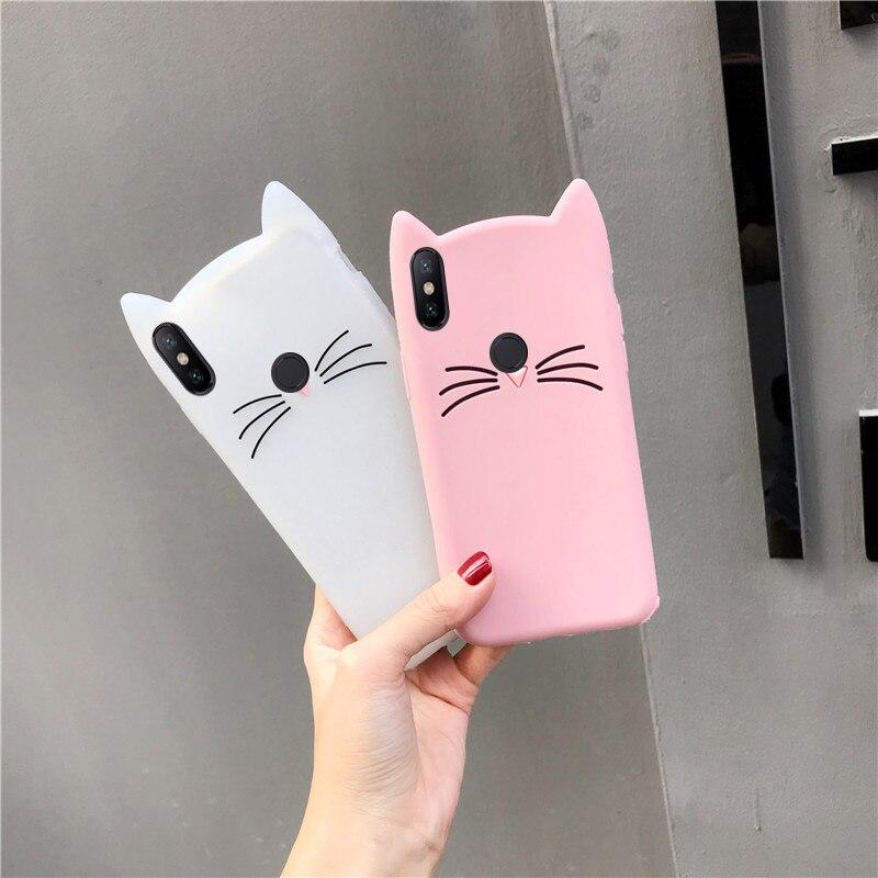 Case For Xiaomi Redmi Note 5A 5 6 Pro 4X 4 3 4A S2 6A 7 3D Cute Cartoon Cat Ear Cases For Xiaomi Mi 8 9 SE A2 Lite Cover