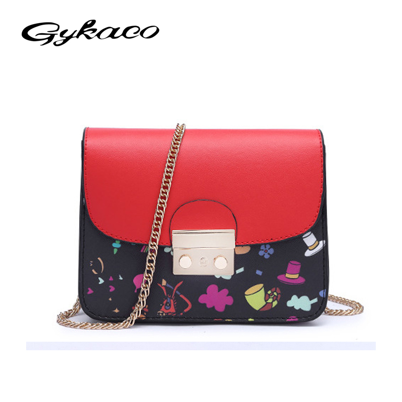 Gykaeo Brand 2017 Summer Newest Women Messenger Bags Lock Chain Small Crossbody Bag Ladies Fashion Printing Flap Shoulder Bag 2017 new summer limited sailor moon chain shoulder bag ladies lock pu leather handbag women messenger crossbody small bag