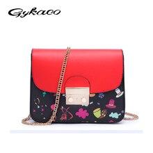 Gykaeo бренд Лето 2017 г. новые Для женщин Курьерские сумки цепочка маленькая сумка через плечо Дамская мода печати клапаном сумка
