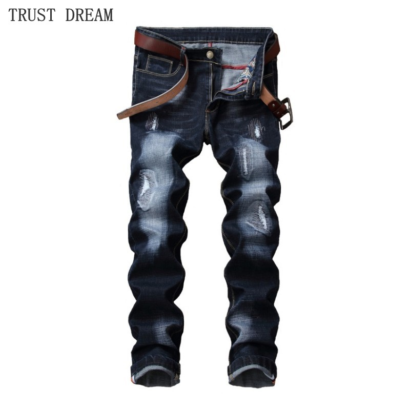 2018 New All Season Men Fashion Patchwork Slim Jeans Distressed Hole Special Personal Man Casual Street Amazing Jean