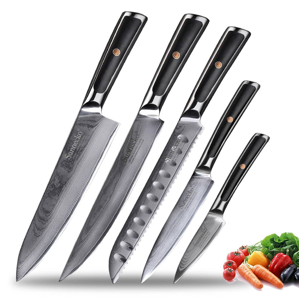 Sunnecko Kitchen Knives Set Gift Box Razor Sharp Japanese VG10 Damascus Steel Chef's Slicing Utility Paring Bread Santoku Knife
