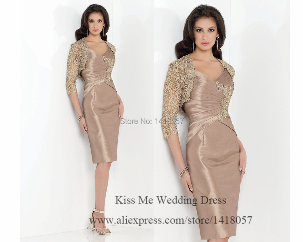 Elegant Short Champagne Mother Of The Bride Dresses With