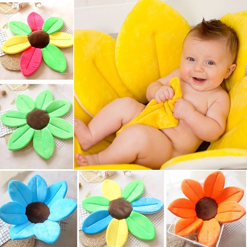 80CM Shower Bathtub Sink Blooming Flower Shaped Sponge Mat For Baby Newborn US