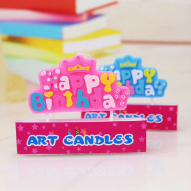 425873f469e8 Оптовая продажа на день рождения свечи и буквы Корона свечи синий розовый  два цвета дополнительный день рождения торт украшения