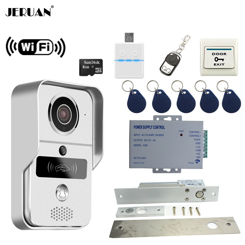 JERUAN Smart 720P WiFi Video Door phone Intercom kit Wireless Record Doorbell For Smartphone Remote View Unlock 8GB SD Card jcsmarts rfid access wireless wifi ip doorbell camera video intercom for android ios smartphone remote view unlock with sd card