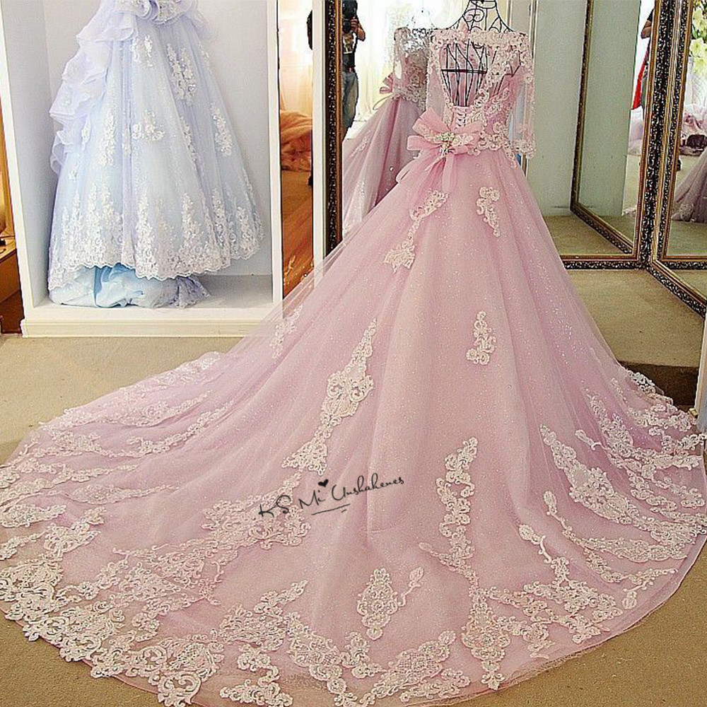 Luxury Pink Wedding Dress Vestidos De Noiva Princesa Beads Half Sleeve Ball Gown Bride Dresses Imported China Wedding Gowns Lace