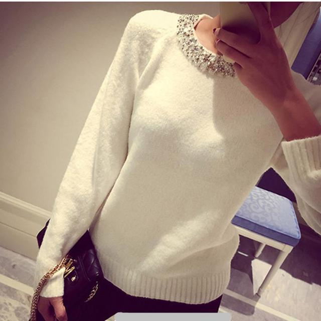 Contas estilo coreano solto malha camisola das mulheres o pescoço de manga comprida feminina Pulôver grosso novidade inverno mistura de lã quente