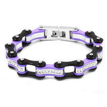 Free Shipping! Bling Crystal Motorcycle Bracelet Stainless Steel Jewelry Violet Black Bicycle Chain Motor Biker Bracelet SJB0311
