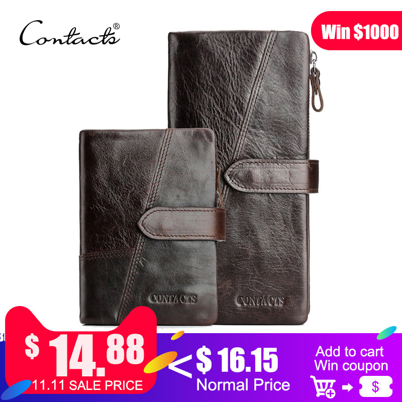 CONTACT'S Genuine Crazy Horse Cowhide Leather Men Wallets Fashion Purse With Card Holder Vintage Long Wallet Clutch Wrist Bag contact s genuine crazy horse cowhide leather men wallets fashion purse with card holder vintage long wallet clutch wrist bag