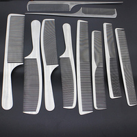 10pcs/set Professional Salon Combs Set Stainless Steel Hair Comb Ultra thin Anti Static Barbers Hair Styling Tools